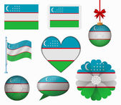 Uzbekistan flag set of 8 items vector — Stock Vector