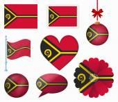 Vanuatu flag set of 8 items vector — Stock Vector