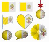 Vatican City flag set of 8 items vector — Stock Vector