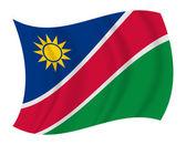 ナミビアの旗を振ってベクトル — ストックベクタ