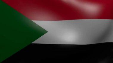 Soedan sterke wind vlag — Stockvideo