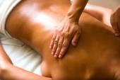 Woman receiving professional massage. — Stock Photo