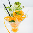 Orange and lime Mojito over white background — Stock Photo #51872871