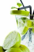Mojito cocktail with lime and mint — Stock Photo