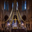 Gothic interior of the Notre Dame de Paris Cathedral  in Paris — Stock Photo #53699097