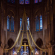 Gothic interior of the Notre Dame de Paris Cathedral  in Paris — Stock Photo #53699121