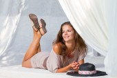 Woman at the summer lounge — Stock Photo