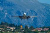 Olympic airways aircraft  in Corfu Greece — Stock Photo