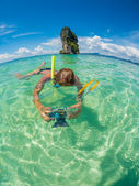 Beautiful woman snorkelling in Krabi Thailand — Stock Photo