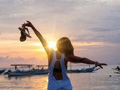 Woman on the beach in Bali Indonesia — Stock Photo