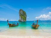 Boat Phranang beach Thailand — Stock Photo