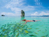 Woman snorkelling in Krabi Thailand  — Stock Photo