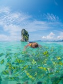 Woman snorkelling in Krabi Thailand  — Stock Photo