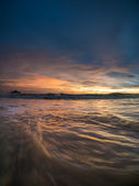 Sand and beach with sunset — Stock Photo