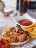 Yummy chicken burger with fries — Stock Photo