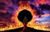 Woman at hell's door  — Stock Photo
