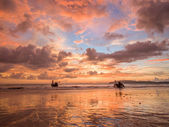 Sunset on the beach of Ao Nang — Stockfoto