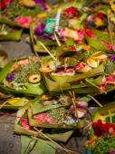 Traditional balinese offerings to gods in Bali  — Stock Photo