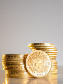 Twenty Swiss Francs coins — Stock Photo
