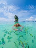 Woman swimming with snorkel, Andaman Sea — Stock Photo
