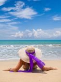 Woman  on the beach in Bali — Stock Photo