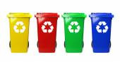 Colorful recycle bins on white — Stock Photo