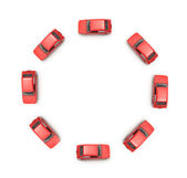 Eight miniature cars in circle — Stock Photo