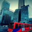 London, Canary Wharf with train — Stock Photo #68521965