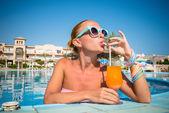 Girl in pool bar — Stock Photo