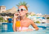 Girl in pool bar — Stock Photo