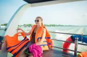 Tourist at Mekong delta cruise — Zdjęcie stockowe