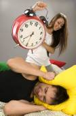 Couple waking up in the morning — Stock Photo