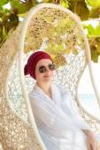 Woman on a tropical beach — Stock Photo