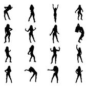 Set of sexy dancer shapes — Stock Vector