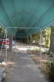 Outdoor canopy over a brick walkway — Foto de Stock