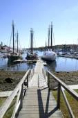 Long wood dock by harbor — Stockfoto