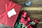Gift Box with Red Roses — Stock Photo