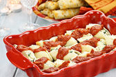 Ricotta Stuffed Cheese Shells and Bread — Stock Photo