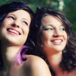 Portrait of two happy teenage girlfriends — Stock Photo #52353549