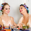 Young beautiful housewives gossiping — Stock Photo #56435109
