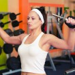 Young female bodyduilder lifting weights in the gym. — Stock Photo #57219217