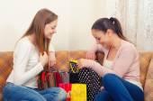 Beautiful teenage girlfriends having fun after shopping — Stock Photo