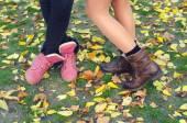 Nogi i buty młodych dziewcząt stojących na suche liście i gra — Zdjęcie stockowe