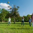 Teenage boys and girls playing with the ball in the park on sunn — Stock Photo #62787553
