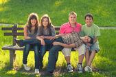 Five teenage boys and girls having fun in the park on sunny spri — Stock Photo