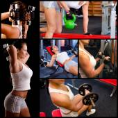 Bodybuilding collage showing beautful girl lifting weights in mo — Stock Photo