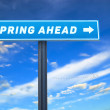 Spring ahead slogan on the street sign against cloudy blue sky — Stock Photo #66407279