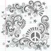 Peace and Love Sommaire école Notebook Doodles Illustration vectorielle — Vecteur