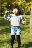 Girl blowing soap bubbles at park  — Stock Photo