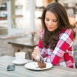Beautiful Woman Eating Cake — Stock Photo #77889048